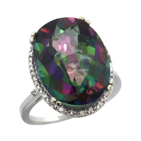 13.71 CTW Mystic Topaz & Diamond Ring 10K White Gold - REF-57W6F