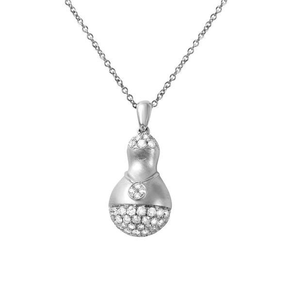 Natural 0.42 CTW Diamond Necklace 14K White Gold - REF-79M2F
