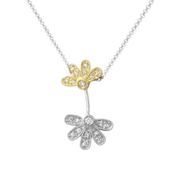 Natural 0.22 CTW Diamond Necklace 14K Two Tone Yellow Gold - REF-41Y4N