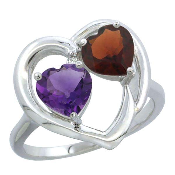 2.61 CTW Diamond, Amethyst & Garnet Ring 14K White Gold - REF-33W9F