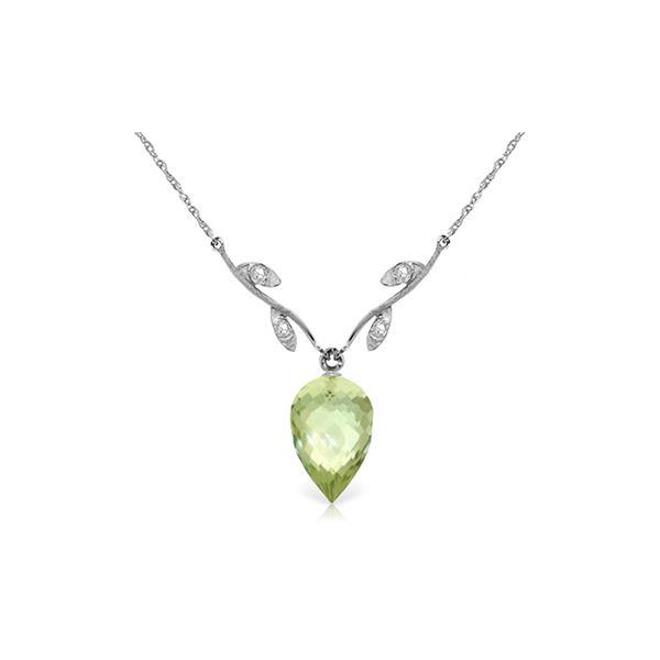 Genuine 9.52 ctw Green Amethyst & Diamond Necklace 14KT White Gold - REF-36N3R