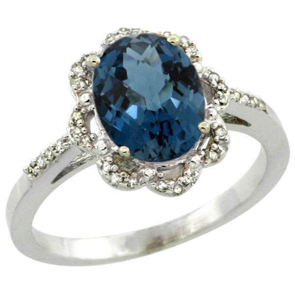 1.86 CTW London Blue Topaz & Diamond Ring 10K White Gold - REF-37W3F