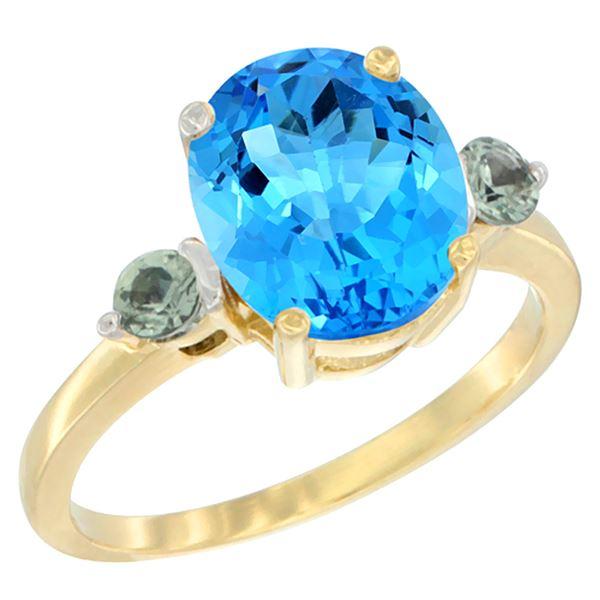 2.64 CTW Swiss Blue Topaz & Green Sapphire Ring 14K Yellow Gold - REF-32X3M