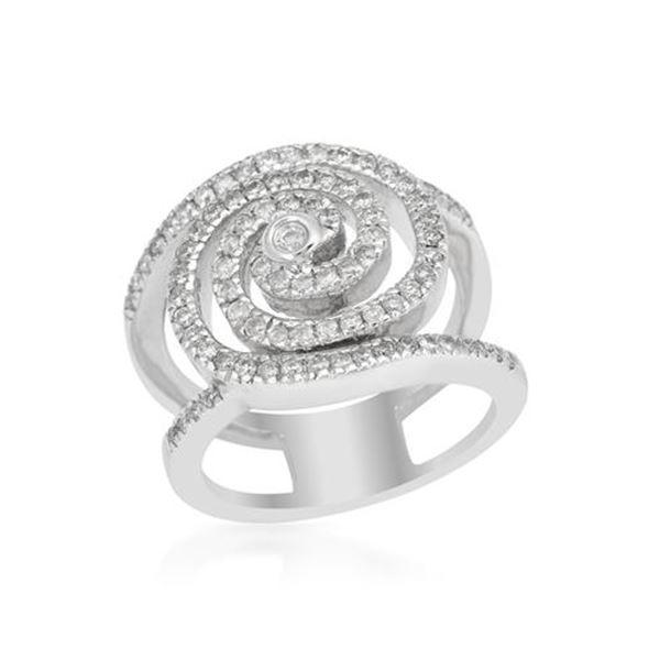 Natural 0.76 CTW Diamond Ring 18K White Gold - REF-189R9K