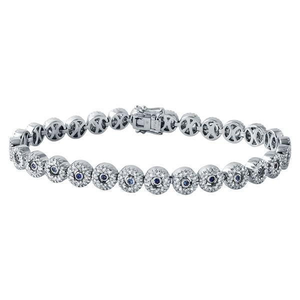 Natural 2.09 CTW Sapphire & Diamond Bracelet 18K White Gold - REF-299X7T