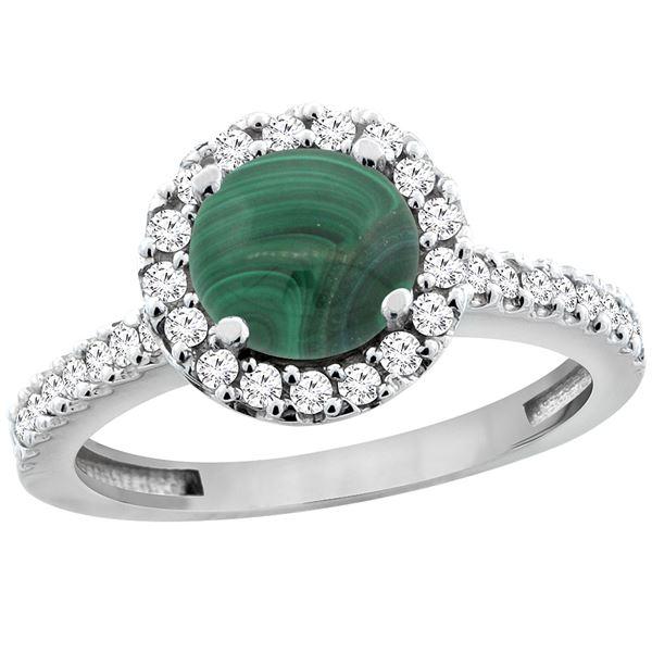 2.56 CTW Malachite & Diamond Ring 14K White Gold - REF-60Y5V