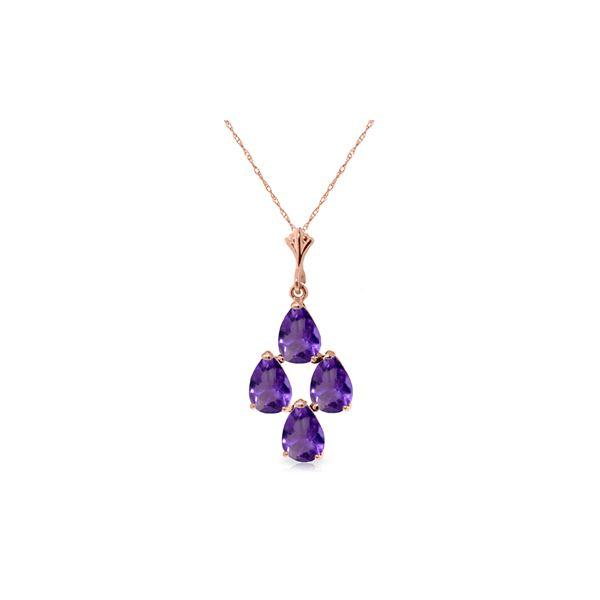 Genuine 1.50 ctw Amethyst Necklace 14KT Rose Gold - REF-20V4W