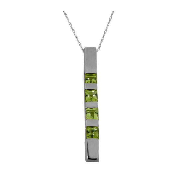 Genuine 0.35 ctw Peridot Necklace 14KT White Gold - REF-26Y6F