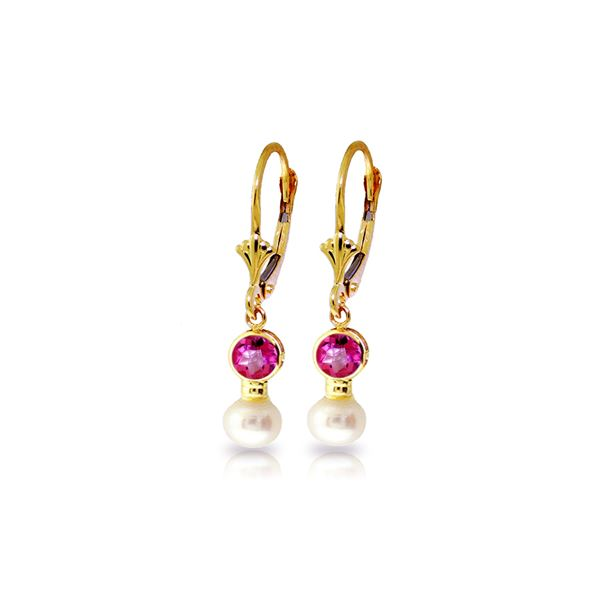 Genuine 2.7 ctw Pink Topaz & Pearl Earrings 14KT Yellow Gold - REF-35X9M