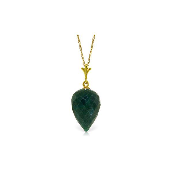 Genuine 12.9 ctw Green Sapphire Corundum Necklace 14KT Yellow Gold - REF-22R2P