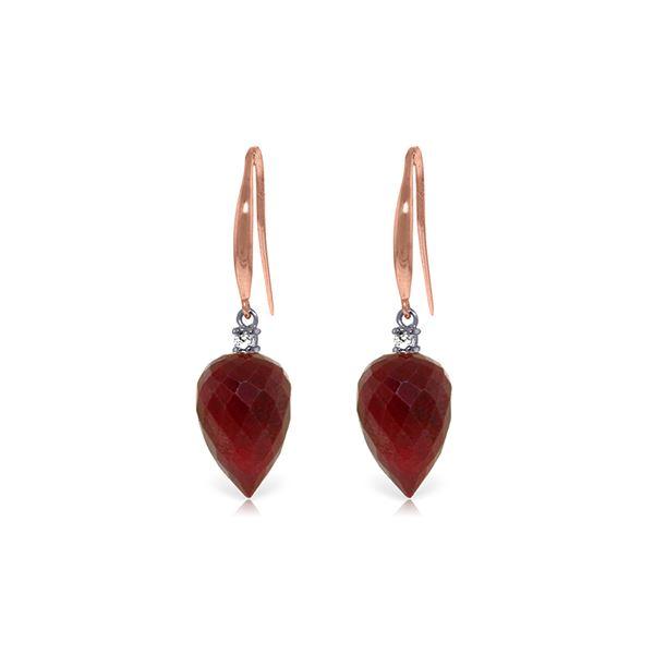 Genuine 26.2 ctw Ruby & Diamond Earrings 14KT Rose Gold - REF-43T3A