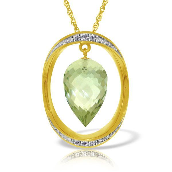Genuine 9.6 ctw Green Amethyst & Diamond Necklace 14KT Yellow Gold - REF-109N6R