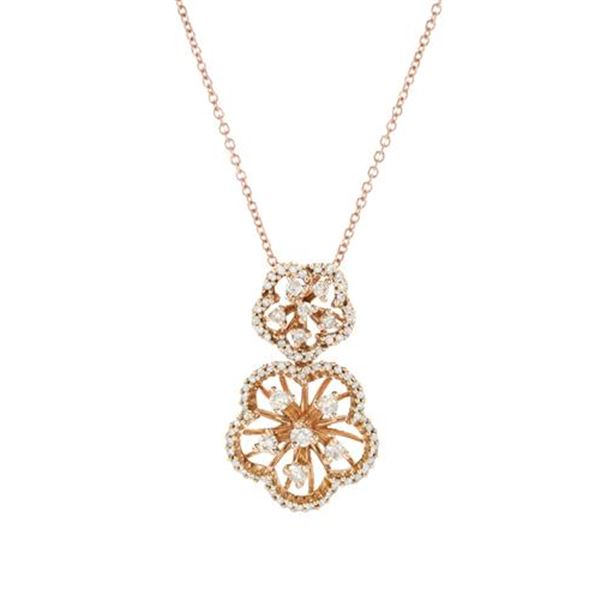 Natural 0.47 CTW Diamond Necklace 14K Rose Gold - REF-56N7Y