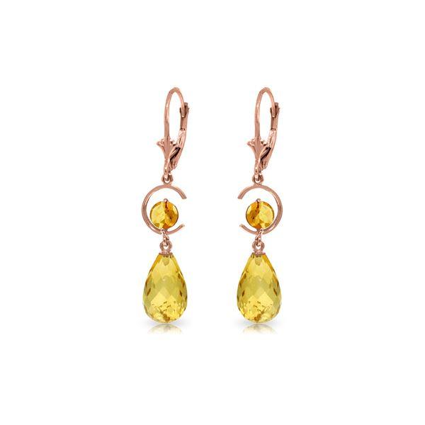 Genuine 11 ctw Citrine Earrings 14KT Rose Gold - REF-46N7R