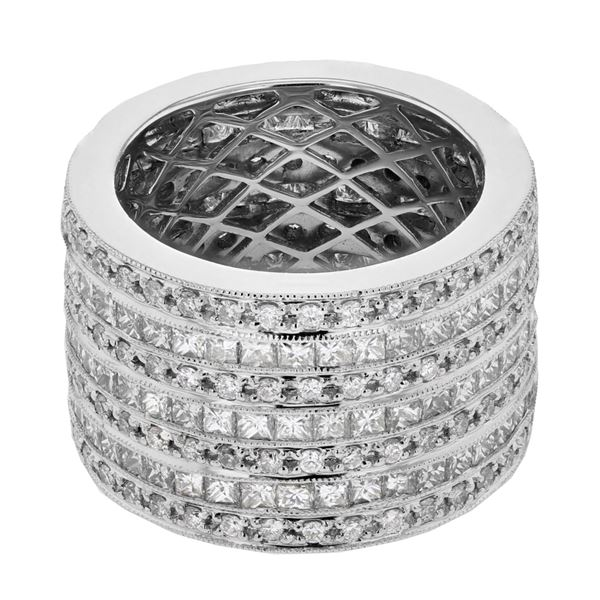 Natural 5.15 CTW Princess Diamond Ring 18K White Gold - REF-698F4M