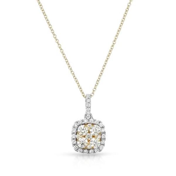 Natural 0.68 CTW Yellow Round Diamond Necklace 14K Two Tone Yellow Gold - REF-96F3M