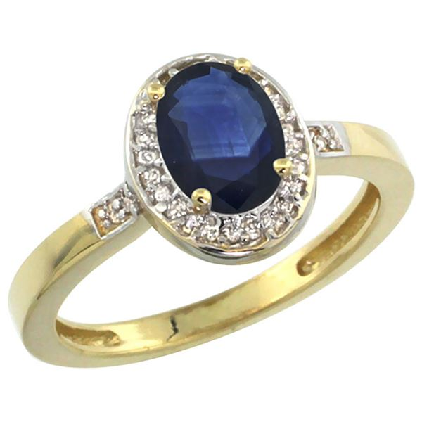 1.15 CTW Blue Sapphire & Diamond Ring 14K Yellow Gold - REF-40Y7V