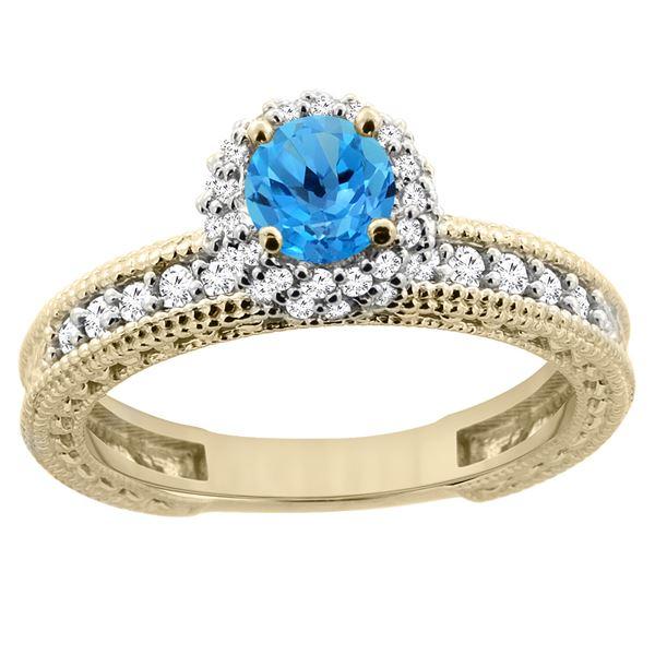 0.91 CTW Swiss Blue Topaz & Diamond Ring 14K Yellow Gold - REF-65K9W