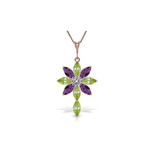 Genuine 2.0 ctw Peridot, Amethyst & Diamond Necklace 14KT Rose Gold - REF-47R4P