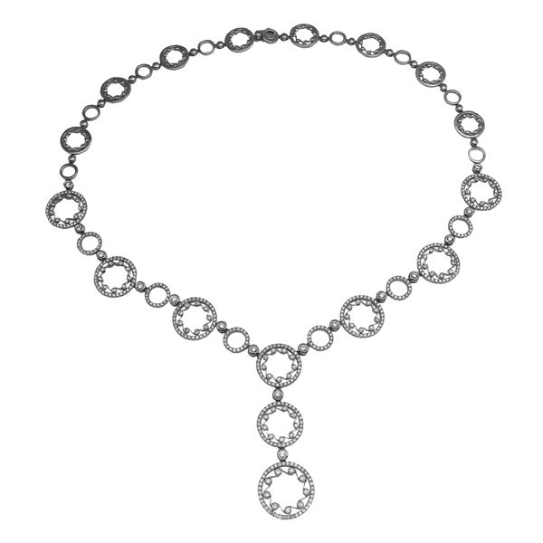 Natural 5.14 CTW Diamond Necklace 18K White Gold - REF-880W2H