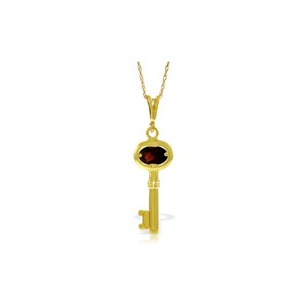 Genuine 0.50 ctw Garnet Necklace 14KT Yellow Gold - REF-32V8W