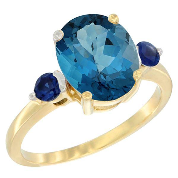 2.64 CTW London Blue Topaz & Blue Sapphire Ring 14K Yellow Gold - REF-32R8H