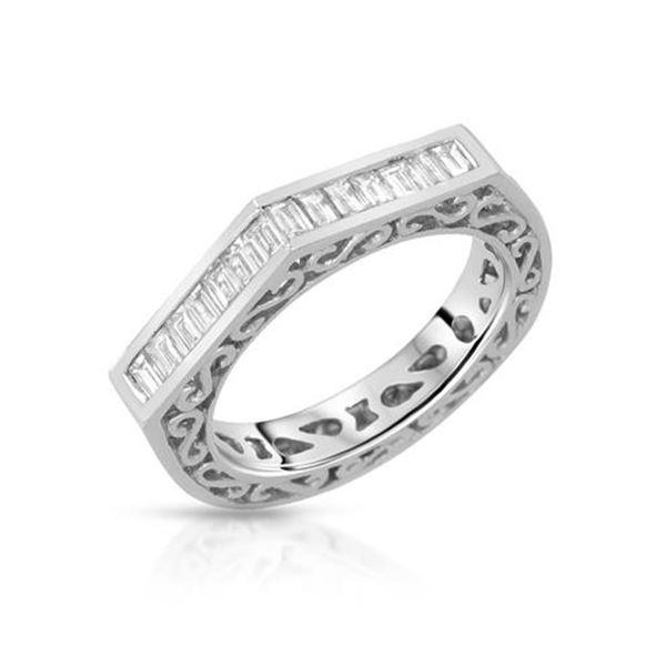 Natural 0.58 CTW Baguette Ring 18K White Gold - REF-114K3R