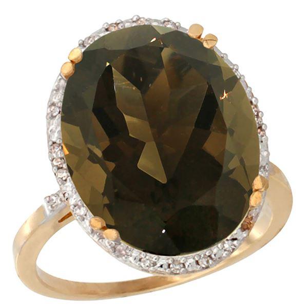 13.71 CTW Quartz & Diamond Ring 14K Yellow Gold - REF-59N4Y