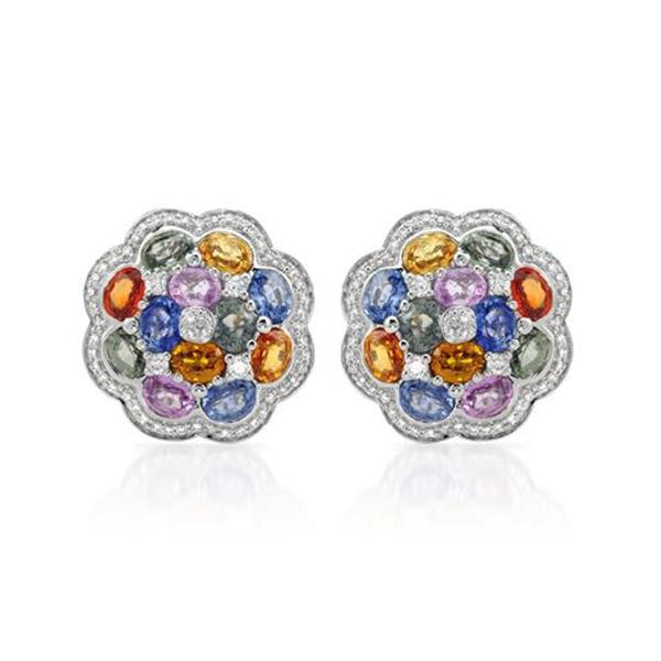 Natural 11.86 CTW Multi-Sapphire & Diamond Earrings W=8MM 14K Gold - REF-224N3Y
