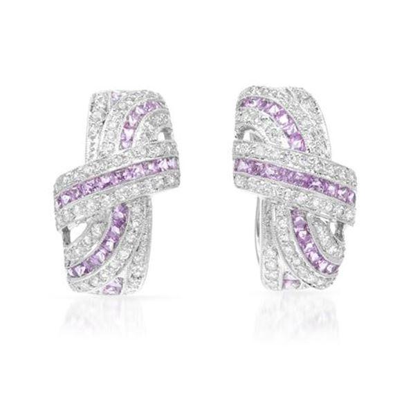 Natural 2.93 CTW Pink Sapphire & Diamond Earrings 18K White Gold - REF-215F3M