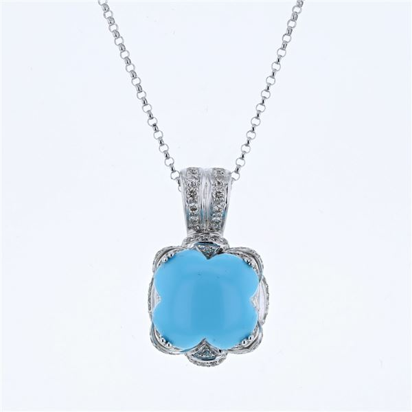 Natural 6.65 CTW Turquoise & Diamond Necklace 14K White Gold - REF-89F3M