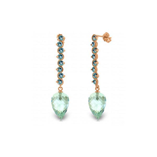 Genuine 25.6 ctw Blue Topaz Earrings 14KT Rose Gold - REF-85Z6N