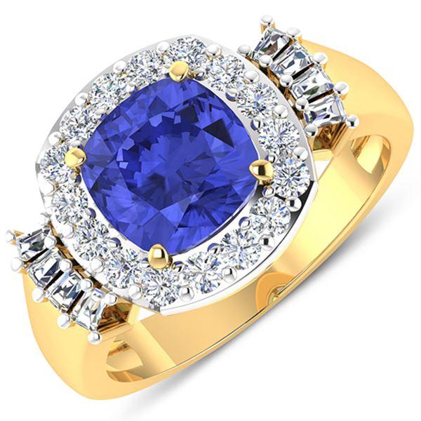 Natural 2.83 CTW Tanzanite & Diamond Ring 14K Yellow Gold - REF-115F3N