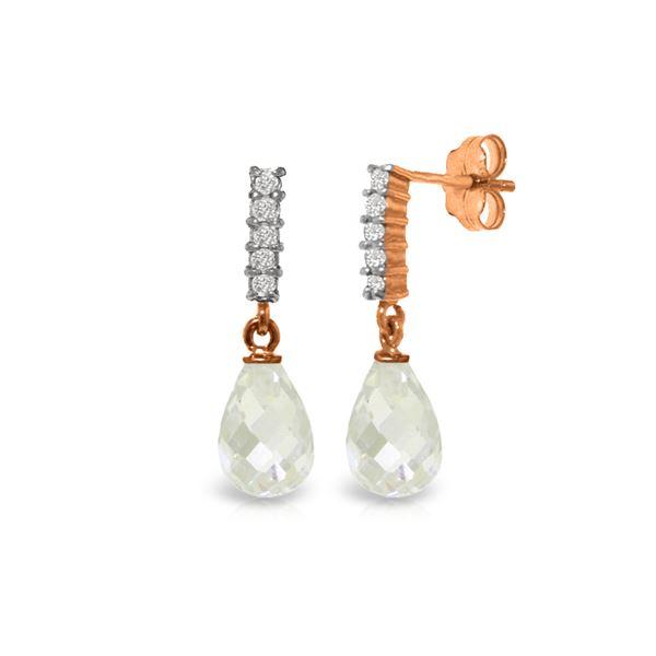 Genuine 4.65 ctw White Topaz & Diamond Earrings 14KT Rose Gold - REF-36A2K