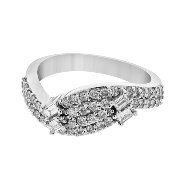 Natural 0.73 CTW Diamond & Baguette Ring 14K White Gold - REF-86N4Y