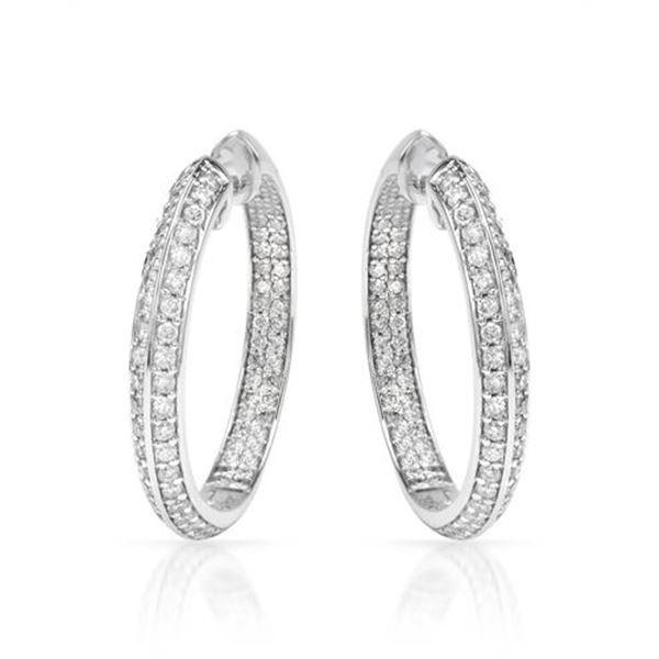 Natural 2.38 CTW Diamond Earrings 14K White Gold - REF-219W6H