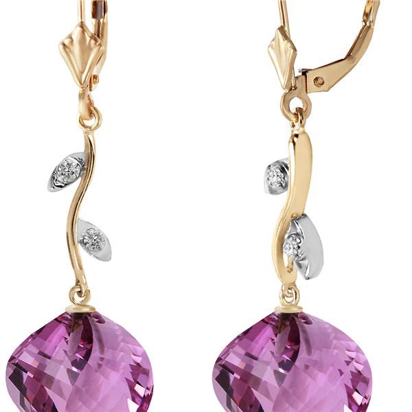 Genuine 21.52 ctw Amethyst & Diamond Earrings 14KT Yellow Gold - REF-60W4Y
