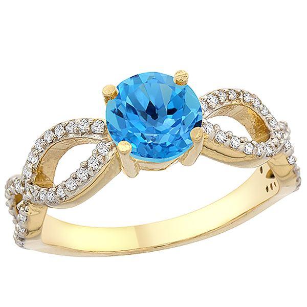 1.25 CTW Swiss Blue Topaz & Diamond Ring 14K Yellow Gold - REF-49V8R