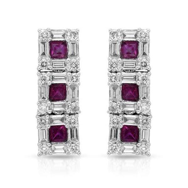 Natural 3.02 CTW Diamond & Baguette Earring 14K White Gold - REF-230K4R