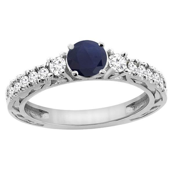 1.40 CTW Blue Sapphire & Diamond Ring 14K White Gold - REF-142W7F