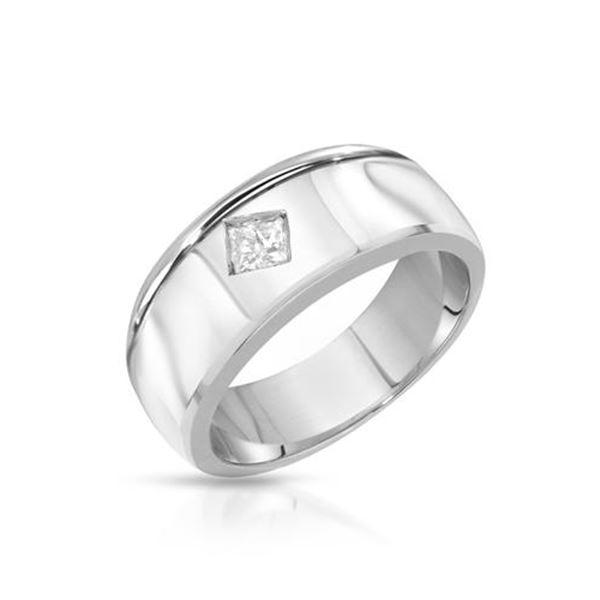 Natural 0.31 CTW Princess Diamond Ring W=9MM 14K Gold - REF-167F4M