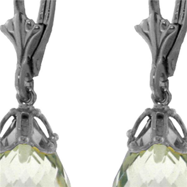 Genuine 14 ctw Green Amethyst Earrings 14KT White Gold - REF-34N3R