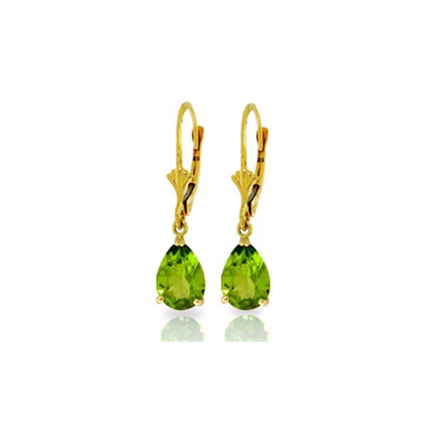 Genuine 3 ctw Peridot Earrings 14KT Yellow Gold - REF-29V2W