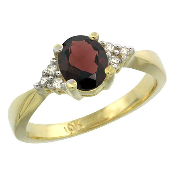 1.06 CTW Garnet & Diamond Ring 14K Yellow Gold - REF-36M9K