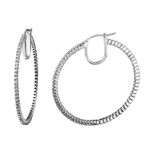 Natural 0.60 CTW Diamond Earrings 18K White Gold - REF-173K7R