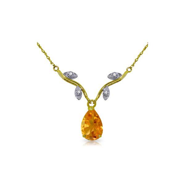Genuine 1.52 ctw Citrine & Diamond Necklace 14KT White Gold - REF-30A7K