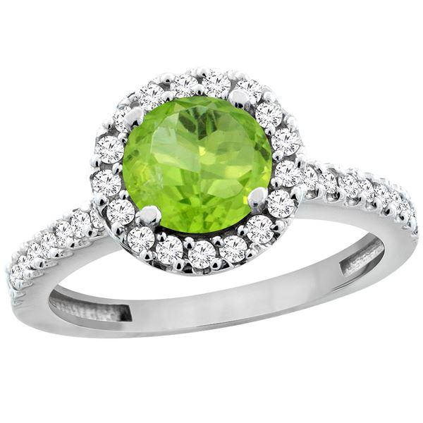 1.13 CTW Peridot & Diamond Ring 14K White Gold - REF-60V5R