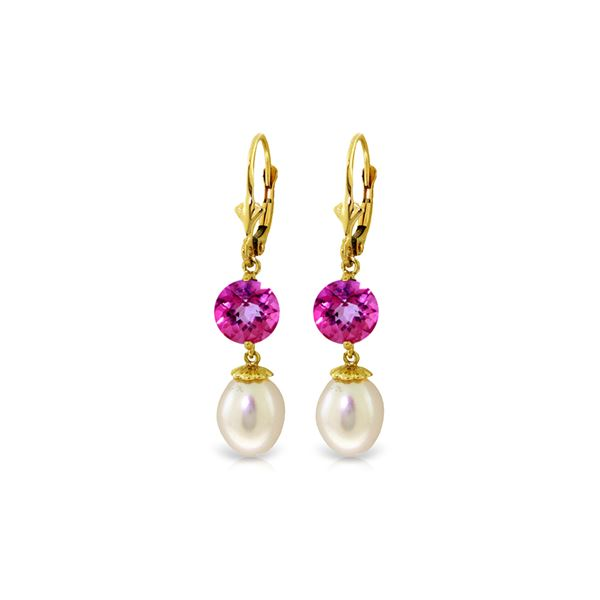 Genuine 11.10 ctw Pink Topaz Earrings 14KT Yellow Gold - REF-28R3P