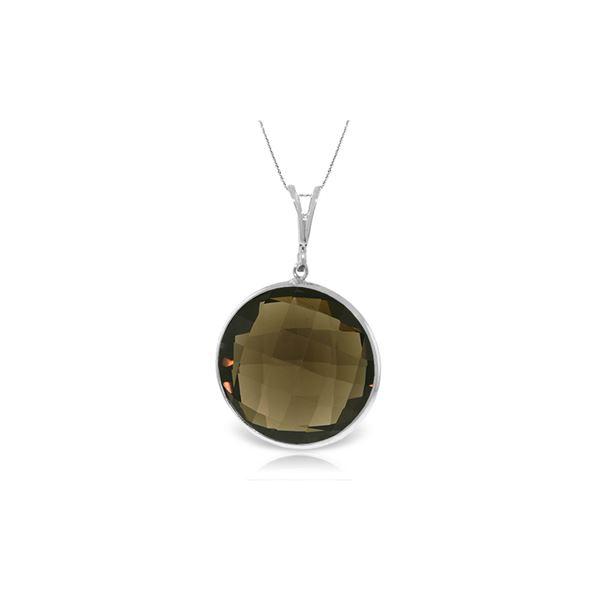 Genuine 17 ctw Smoky Quartz Necklace 14KT White Gold - REF-39T4A