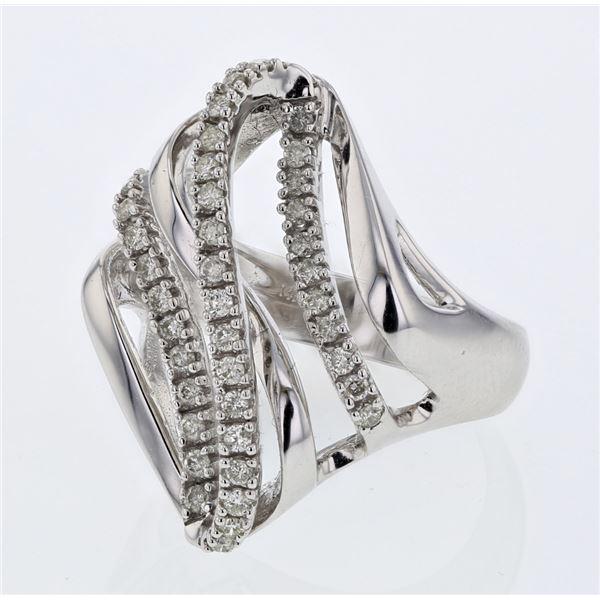 Natural 0.45 CTW Diamond Ring 18K White Gold - REF-136W8H